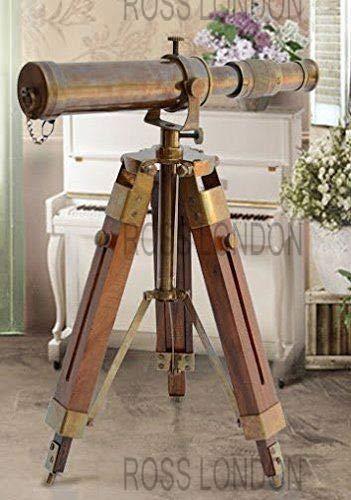 Marine Brass Telescope with Tripod Stand Working Pirate Ship Spyglass Home Decor