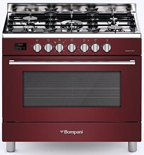 Bompani BO 689 - Cocina eléctrica de gas (90 cm, 114 L, con quemador de gas de 3,8 kW, horno eléctrico con 7 funciones), color rojo