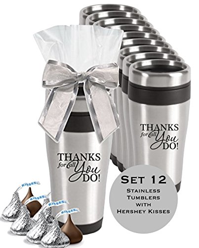 12 Piece Thank You Tumblers with Hershey Chocolate Kisses/Christmas Holiday Chocolate Hersheys Kisses Candy Gift Mug/Teacher Appreciation Gift/Corporate Thank You Travel Mugs/Nurse's Day Gifts by CGS BRANDING