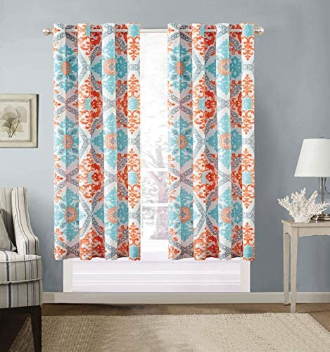Modern 2 – Piece Printed Grommet Curtain Set Drapes Window Panels 108 inch Wide X 63 inch Long Turquoise, Blue, White, Grey, Orange