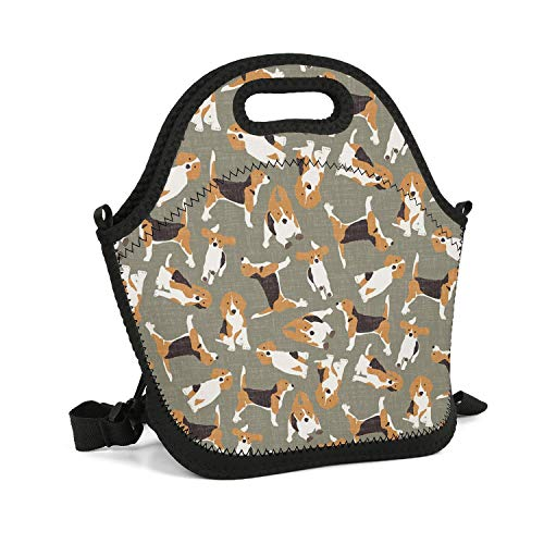 Octayi Adult Lunch Box Insulated Lunch Bag Cute Dog Breed Beagle Neoprene Tote Bag Carry Case Handbags Tote with Zipper for Men Women Kids Nurse Teacher Work Outdoor Travel Picnic