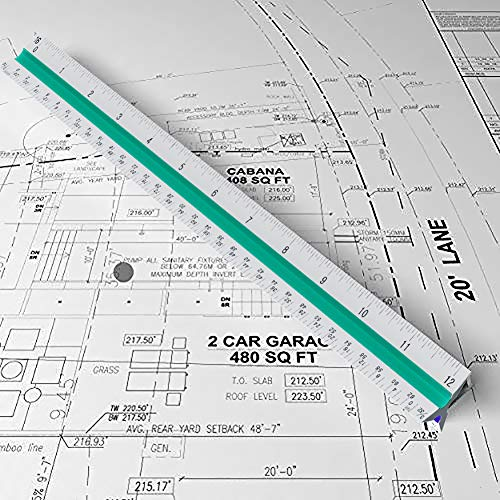 Architectural Scale Ruler - 12'' Aluminum Triangular Architect Scale Ruler for Engineering Scale, Drafting Ruler, Metal Scale Ruler, Blueprint - with Imperial Measurements by Leyaron (Image #6)