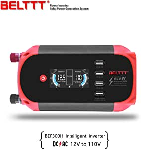 300W Car Power Inverter DC 12V to 110V AC Converter with LED Intelligent Digital Display and 4 Smart USB Charger Ports by BELTTT