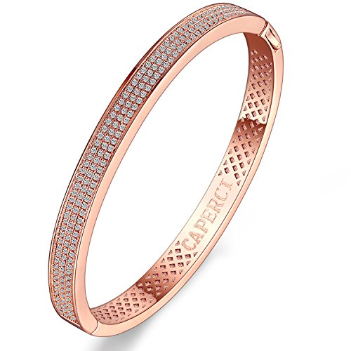 14k Rose Gold Bangle Bracelet - Caperci Oval Pave Cubic Zirconia Rose Gold Plated Bangle Bracelet for Women, 7.5''