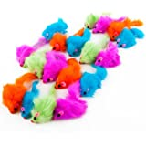 Rainbow Plush Rattling CatNip Mice cat toy
