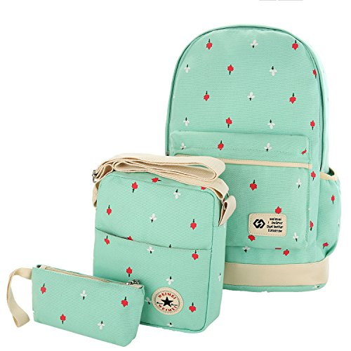 Teen Girls School Backpack with Shoulder Bag Pencil Case Lightweight Rucksack for College Teenage Bookbags Travel Daypack 3 Pieces (Days Iii Canvas)
