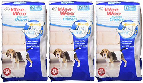 (3 Pack) Wee-Wee Products Disposable Dog Diapers (Medium / 12 ct. Per Pack)