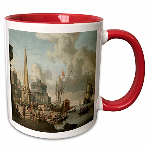 3dRose BLN Sailing Ships and Seascapes Fine Art Collection - A Fortified Mediterranean Port with an Obelisk and a Gally by Abraham Storck - 15oz Two-Tone Red Mug (mug_126837_10)