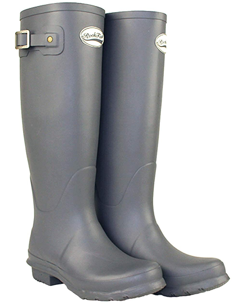 Earl gris Rockfish Award Winning bottes, Knee-High, Knee-High, Ladies Wellington bottes, Natural Rubber, calenderouge, Cushioned Insole, Taille 3  meilleure qualité