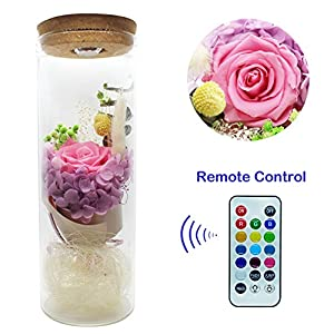 ZRYun Preserved Fresh Flower - Forever Rose in a Glass with 13 Color LED Lights, Glowing Immortal Flower with Remote Control, Best Gift for Valentine's Day Wedding Anniversary Birthday 100