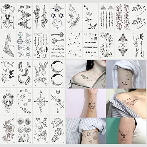 Oottati 30 Sheets Small Cute Temporary Tattoos Kit - Black Arrow Deer Whale Panda Flower Planet Lotus Moon Fox Sword Swallow for Women