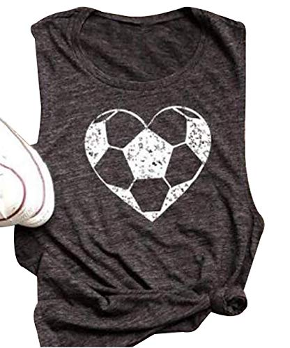 FAYALEQ Heart Soccer Funny Graphic Tank Tops Women's Casual Vest T-Shirt Blouse Tee Size XL (Gray)]()