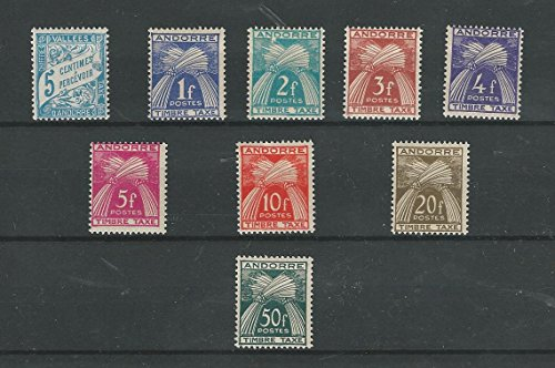 Andorra, French, Postage Stamp, J17, J33-J40 Mint NH, 1937-1953 (P)