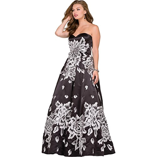 Evening Dresses By Jovani (Jovani Satin Embroidered Formal Dress Black 4)