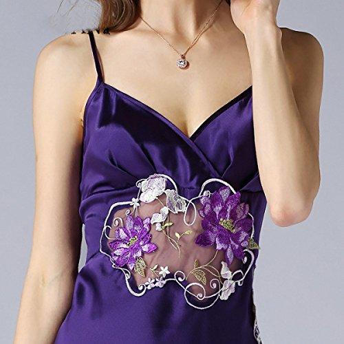 Sección Delgada Sra. Pijama De Seda Atractivo Del Verano 2017 Purple