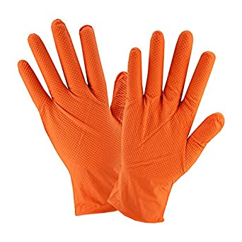 West Chester 2940/2XL 7 Mil Industrial Grade Powder Free Textured Nitrile Gloves, 2XL, Orange