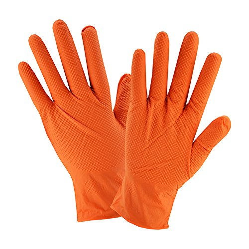 West Chester 2940 Industrial Grade Textured Disposable Nitrile Gloves, 7 mil, Powder Free: Orange, X-Large, Box of 90