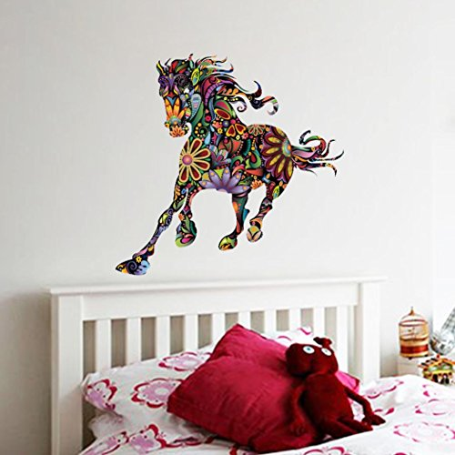 BIBITIME Creative Impetuous Running Flower Horse Wall Art Sticker National Animal Decal for Living Room Bedroom Nursery Kids Room Decor Vinyl - Wall Running The
