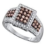 Square Brown Diamond Cocktail Ring 10k White Gold Designer Style Fashion Band Chocolate Pave Set 5/8 ctw