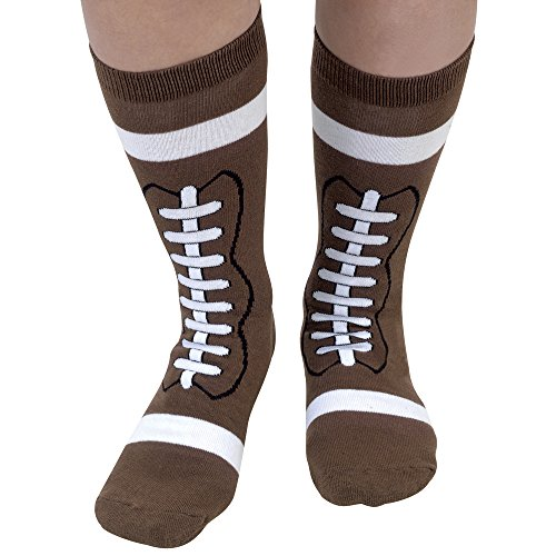 Bits and Pieces - Novelty Socks - Football - Silly Socks - Machine Washable - Cotton-Rich Socks, Fun Great Gift - Brown - Adult Size 6-12