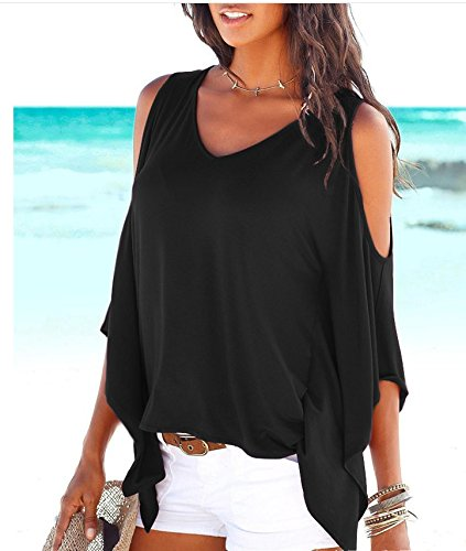 MISELON Womens Cold Shoulder Batwing Sleeve Top Summer Loose Blouse T Shirts (Black#, XL)
