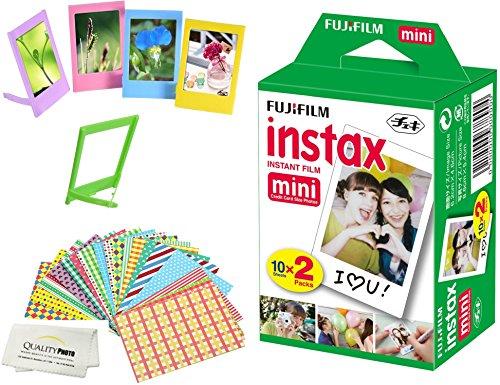 Fujifilm Instax Mini Instant Film 2 Pack = 20 Sheets For Fujifilm Mini 9 or Mini 8 Camera + 5 Colored Frames + 20 Assorted Colorful Sticker Frames + Microfiber cloth by Quality Photo