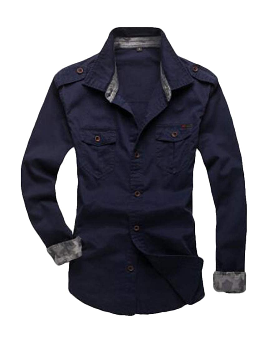 GRMO Men Cargo Button Up Pure Color Long Sleeve Cotton Shirts