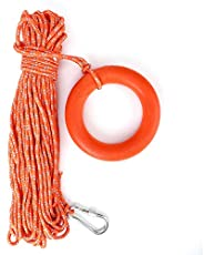 Reflective Water Floating Lifesaving Rope PVC Rescue Rope with Hook and Pull Ring, 6mm Diameter 30m Length