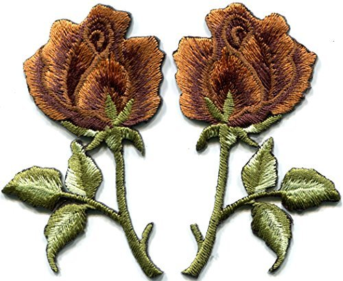 - Bronze roses pair flowers floral retro boho hippie embroidered appliques iron-ons patches new