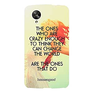 HomeSoGood Crazy People Quote Yellow 3D Mobile Case For LG Nexus 5 (Back Cover)