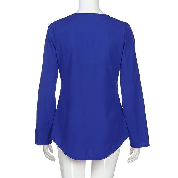 VJGOAL Moda de Mujer Casual con Cremallera en V Cuello Gasa Suelta Manga Larga Color sólido Sin Gorra Blusa Camiseta: Amazon.es: Ropa y accesorios