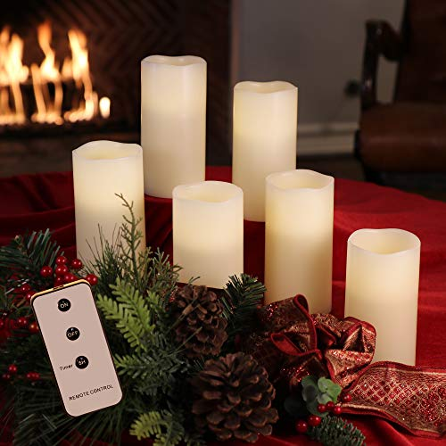 Set of 3x6 Ivory Wax Remote Controlled Battery Operated Flickering Candles with Remote and Batteries (Ivory, 6pk) (Led Remote Candles Controlled)