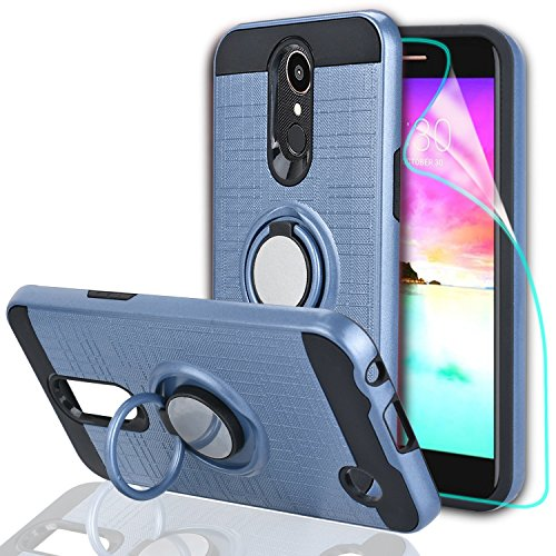 rmony/Grace LTE/K10 2017 Case with HD Screen Protector,Ymhxcy 360 Degree Rotating Ring & Bracket Rubber Dual Layer Shock Bumper Resistant Back Cover for LV5-ZH Metal Slate ()