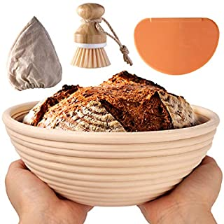 Banneton Proofing Basket, Banetton Bread Proofing Basket 9 Inch Round BARLEY TALK for Professional & Home Bakers -100% Natural Rattan Dough Scraper Linen Liner Cloth Cleaning Brush