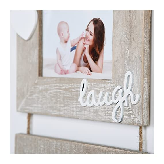 """Yaetm Live Laugh Love Collage Hanging Picture Frame 4x6"""", Solid Wood 3 Photo Frames Set, Wall Mount Verticval Display, Rustic Grey - 【Unique Design】: Made of rustic solid wood, shabby chic style, high definition real glass, Each frame attached a cute HEART and live laugh love, Hanging on wall with a rope. This haning frame is carefully designed for sweet family wall decor. 【DIMENSION】: Total display dimension is 30 x 9.5 inch with hanging rope. Each 4x6 rustic frame outline size is about 9.5x7.5 inch, holds 4 x 6 inch photographs/pictures/portraits/art prints. 【Easy to use & install】: With the hanging rope, the photo frame can be easily mounted on the wall. Each frame comes with easy opening tabs at the back to make the photograph changing more easy. - picture-frames, bedroom-decor, bedroom - 519Gw722r2L. SS570  -"""