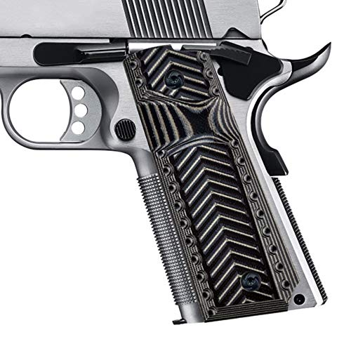 Guuun 1911 G10 Grips Full Size Government Commander 1911 Grip Big Scoop Sergeant Epaulet Texture