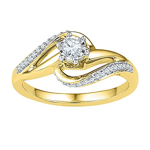 10kt Yellow Gold Womens Round Diamond Solitaire Swirl Bridal Wedding Engagement Ring 1/5 Cttw (I1-I2 clarity; H-I (Gold Diamond Swirl)