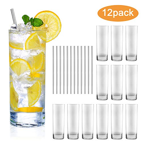 Glass Cups 10 oz,QAPPDA Clear Highballl Drinking Glasses For Kitchen,Heavy Base Water Cup For Juice,Cocktails,Beverages,Drinking Cups Beer Cups Set Of 12 KTY1002