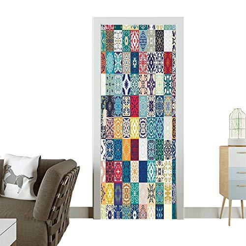 (Art Door Stickers Patchwork Pattern Different Colorful Figur Orig al Tunisian ful Door Decals for Home Room DecorationW31 x H79 INCH)