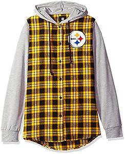 NFL Pittsburgh Steelers Womens NFL Women's Lightweight Flannel Hooded Jacket, Medium from Team Beans, LLC