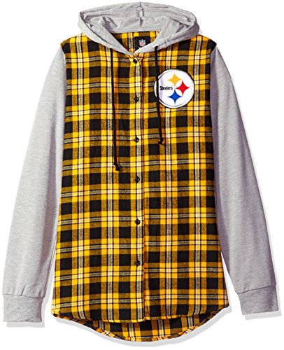 NFL Pittsburgh Steelers Womens NFL Women's Lightweight Flannel Hooded Jacket, Medium from Team Beans, LLC