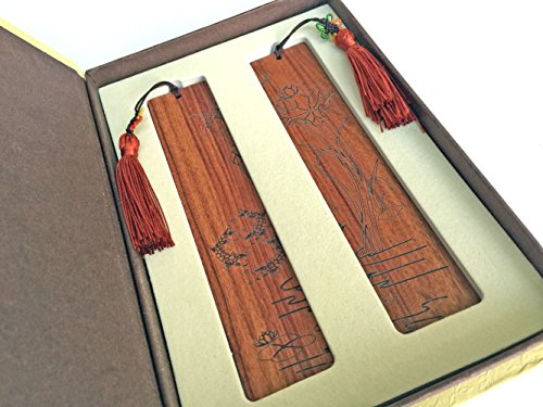 Unique Gift - Olina Handmade Natural Wood Couple Bookmarks-best Gifts (Couple Rosewood-Lotus & fish)