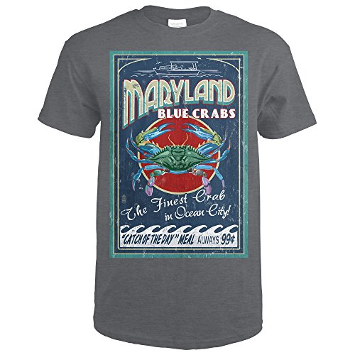 Ocean City, Maryland - Blue Crabs Vintage Sign (Dark Grey Heather T-Shirt - Ocean Maryland Shops City
