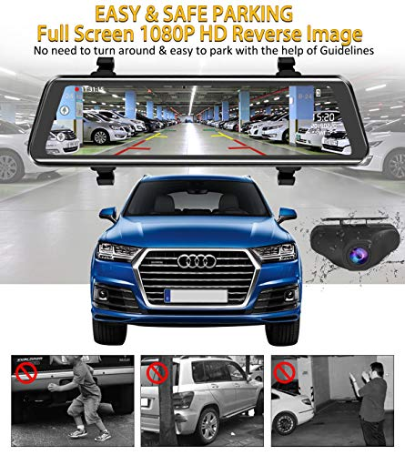 Mirror Dash Cam 9.88 inch Full Touch Screen Car Backup Camera Dual Recording HD Front 1080P 170° Wide Angle 1080P Rear View Camera 150° URVOLAX Night Vision,24-Hour Parking,GPS, SD Card by URVOLAX (Image #6)