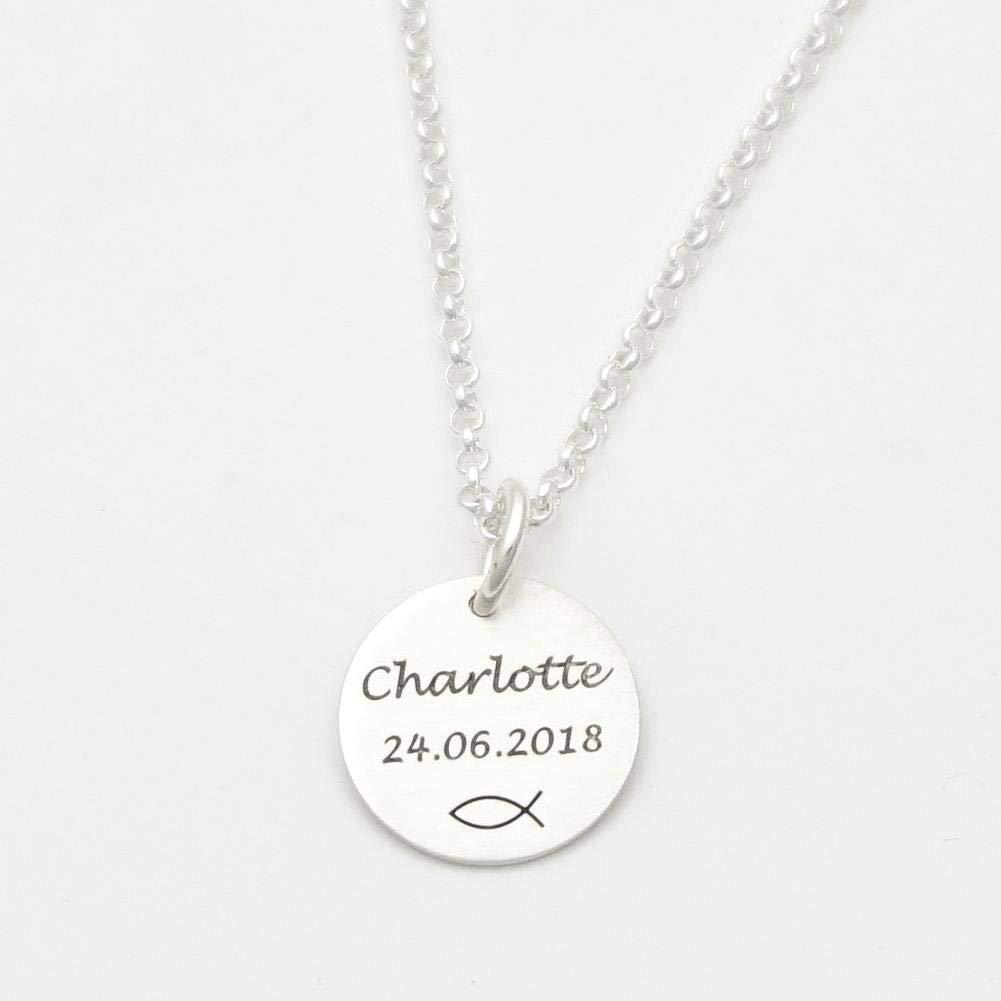Echt Silber Taufkette mit Gravur ICHTHYS /♥ Taufschmuck Geburt Kommunion Namenskette