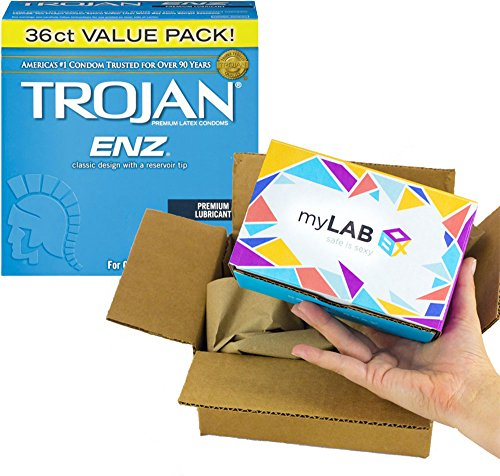 Home Std Kit - myLAB Box Bundle - Chlamydia/Gonorrhea/Trich/HIV Mail-In Test Kit (MALE, Lab-Certified Results in 3-5 days) + Trojan ENZ Condoms (36ct)