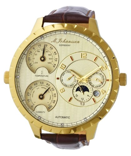 M. Johansson Automatic Diamonds Temperature and Humidity Leather Gold Dial Men's Watch CapuaLGGD, Watch Central