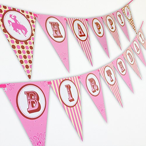Pink Cowgirl Party Supplies (Cowgirl Happy Birthday Banner)