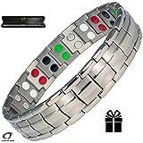 Argento doppia forza braccialetto magnetico in titanio per uomini + Plus confezione regalo di velluto - artrite | Golf braccialetto