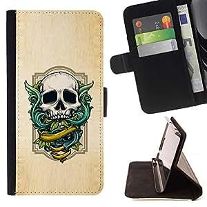 Momo Phone Case / Flip Funda de Cuero Case Cover - Alas Textura verde del cráneo de madera blanca - Samsung Galaxy E5 E500